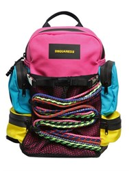Dsquared Color Blocked Canvas Backpack With Ropes