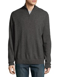 Neiman Marcus Zip Front Cashmere Pullover Sweater Charcoal