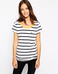 Jack Wills Striped T Shirt Whitenavy