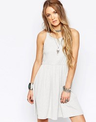 Glamorous Racer Back Vest Dress With Skater Skirt Light Grey Rib