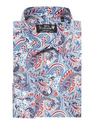 New And Lingwood Edmonton Paisley Print Shirt Red