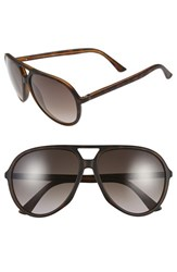 Men's Gucci 61Mm Aviator Sunglasses Dark Havana Brown Gradient