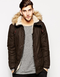 United Colors Of Benetton Parka With Borg Lining And Faux Fur Hood Black