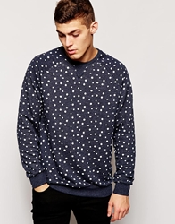 Anerkjendt Sweatshirt In Polka Dot Pattern Blue