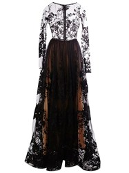 Zuhair Murad Embroidered Sheer Gown Black