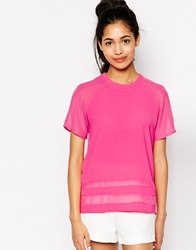 Neon Rose T Shirt With Sheer Panel Pink