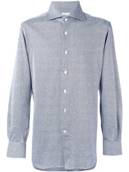 Kiton Woven Button Down Shirt Blue