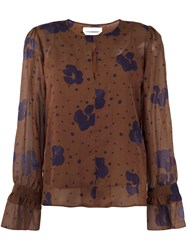 See By Chloe Floral Print Sheer Blouse Brown