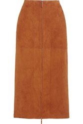 The Row Kima Suede Skirt Brown