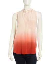 Rebecca Taylor Ombre Washed Silk Blouse Coral