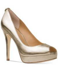 Michael Kors York Platform Pumps Women's Shoes Pale Gold