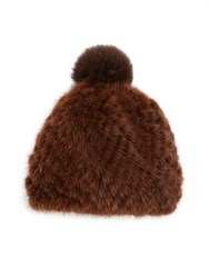 Pologeorgis Mink And Fox Fur Knit Beanie Brown