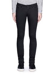 Attachment Skinny Fit Cotton Twill Pants Black