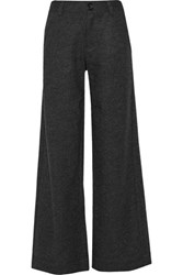 Y 3 Wool Felt Wide Leg Pants Charcoal