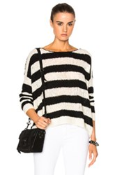 Atm Anthony Thomas Melillo Boatneck Drop Shoulder Sweater In Black White Stripes Black White Stripes