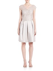 Kay Unger Illusion Lace Dress Silver