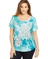 Style And Co. Plus Size Printed Rhinestone Embellished Top Precious A