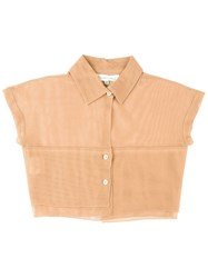 Romeo Gigli Vintage Cropped Fine Mesh Shirt Brown