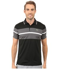 Lacoste Sport Ultra Dry Chest Stripe Polo Black Charcoal Grey White Men's Clothing