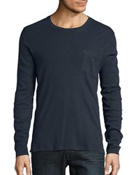 Selected Heathered Cotton Blend Long Sleeve Tee Blueberry