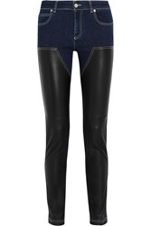 Givenchy Skinny Jeans In Dark Blue Denim And Black Leather