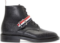Thom Browne Black Leather Ribbon Ankle Boots