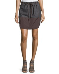 Brunello Cucinelli Nylon Border Drawstring Skirt Ebony Charcoal Brown