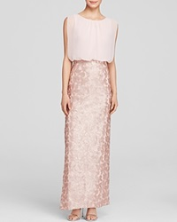 Aidan Mattox Gown Sleeveless Blouson And Sequin Lace Skirt Column Petal