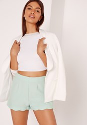 Missguided Scallop Hem High Waisted Shorts Green Green