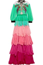 Gucci Velvet Trimmed Embellished Tiered Silk Chiffon Gown Light Green