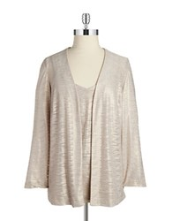 Alex Evenings 2 Piece Blouse And Tank Set Champagne