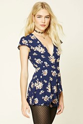 Forever 21 Floral Surplice Romper Navy Peach