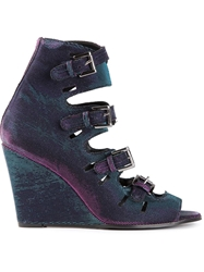 Surface To Air Two Tone Buckle Sandals Pink And Purple