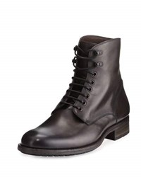 Magnanni Leather Lace Up Stacked Boot Gray