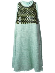 Msgm Embellished Tweed Dress Green