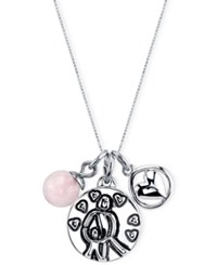 Unwritten Mother Charm And Rose Quartz Bead 8Mm Necklace In Stainless Steel