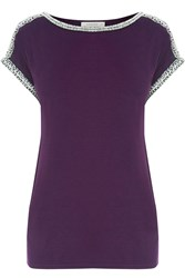 Oasis Embellished Roll Sleeve Tee Dark Purple