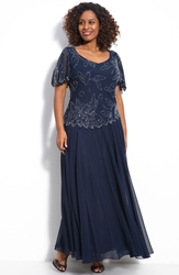 J Kara Floral Beaded Mock Two Piece Chiffon Gown Plus Size Navy Luster Grey