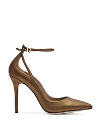 Reiss Leighton Metallic Suede Ankle Strap Pumps Bronze