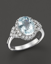 Bloomingdale's Aquamarine And Diamond Ring In 14K White Gold Blue White