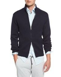 Brunello Cucinelli Double Face Cashmere Front Zip Sweater Navy Cl434 Navy