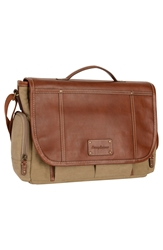 Tommy Bahama Canvas And Leather Messenger Bag Khaki Cognac