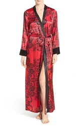 Women's In Bloom By Jonquil 'Scarlet' Print Satin Long Robe