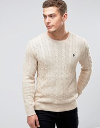 Polo Ralph Lauren Cotton Cable Knit Jumper In Regular Fit Oatmeal Beige