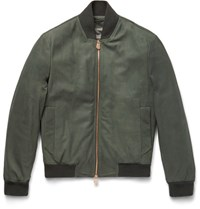 Berluti Snake Embroidered Leather Bomber Jacket Green
