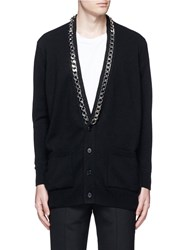 Givenchy Chain Strap Front Cashmere Cardigan Black