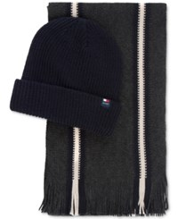 Tommy Hilfiger Hat And Scarf Gift Set Charcoal
