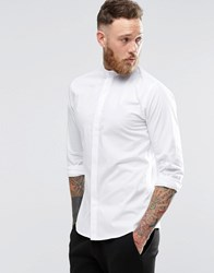 Noose And Monkey Skinny Shirt With Grandad Collar With Stretch White