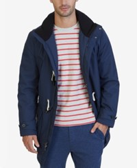 Nautica Men's Weather Resistant Hooded Toggle Coat Mood Indigo