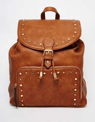 New Look Buckle Backpack With Stud Detail Tan